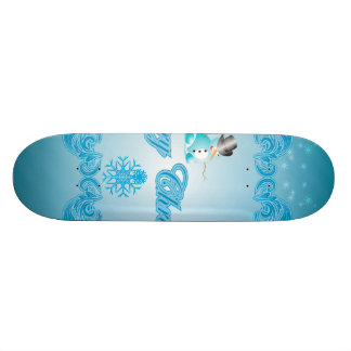 Merry christmas with snowman and decorative floral skateboard
