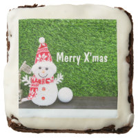 Merry Christmas with snowman and golf ball Cake Brownie