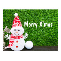 Merry Christmas with snowman and golf ball Card
