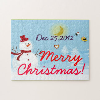 Merry Christmas with Snowman Photo Puzzle