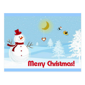 Merry Christmas with Snowman Postcard