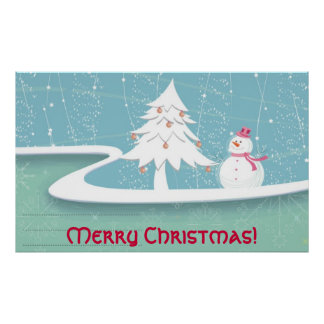 Merry Christmas with Snowman Posters