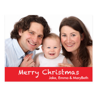 Merry Christmas with Text and Photo Postcard