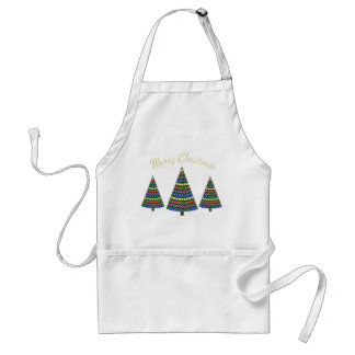 Merry Christmas with Three Christmas Trees Adult Apron