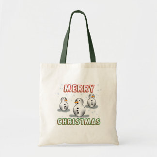 Merry Christmas with Three Wise Snowmen Tote Bags
