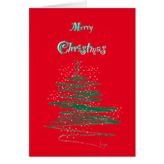 Merry Christmas with Tree and Snowflake Custom Greeting Card