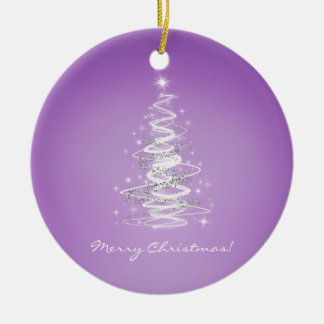 Merry Christmas with tree in purple Double-Sided Ceramic Round Christmas Ornament