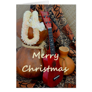Merry Christmas with White Ribbon Lei Greeting Card