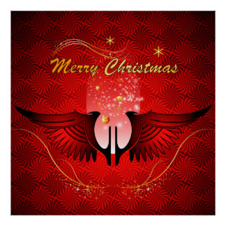 Merry christmas with wings print