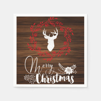 Merry Christmas wood holiday napkins
