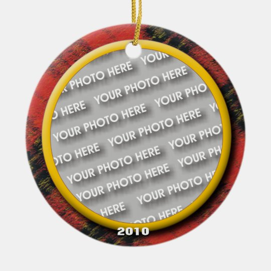 Merry Christmas Wooly Plaid Photo Memory Ceramic Ornament