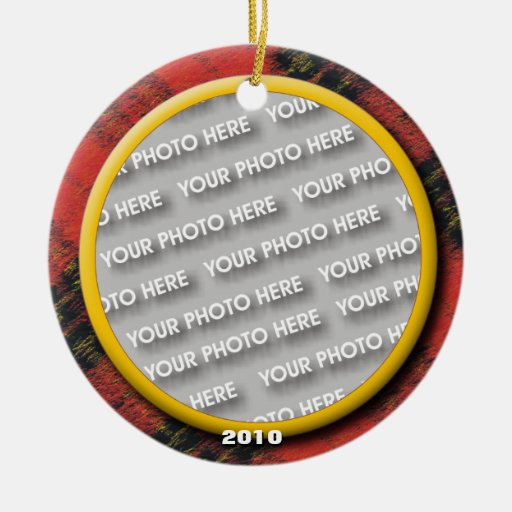 Merry Christmas Wooly Plaid Photo Memory Christmas Tree Ornaments