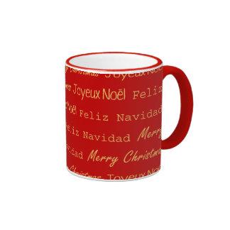 Merry Christmas Word Art Red Pattern Ringer Mug