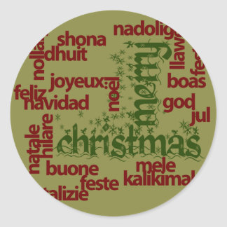 Merry Christmas Word Cloud Classic Round Sticker