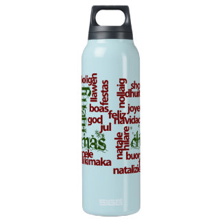 Merry Christmas Word Cloud Insulated Water Bottle