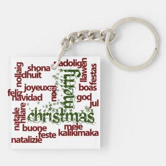Merry Christmas Word Cloud Keychain
