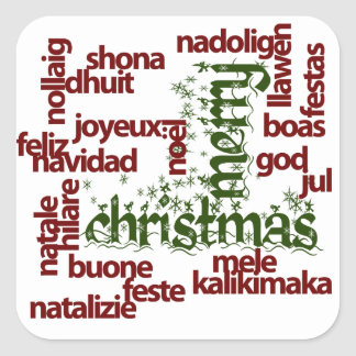 Merry Christmas Word Cloud Square Sticker