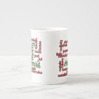 Merry Christmas Word Cloud Tea Cup