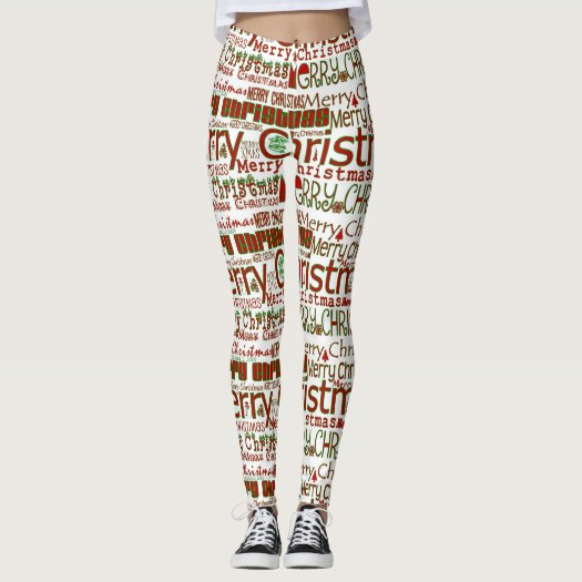 Merry Christmas WordArt Leggings