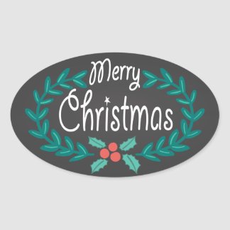 MERRY CHRISTMAS WREATH CHALKBOARD STICKERS