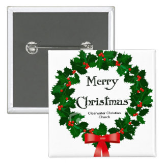 Merry Christmas Wreath Clearwater Christian Church 2 Inch Square Button