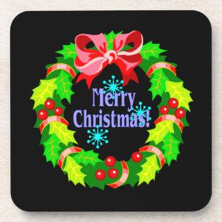 Merry Christmas Wreath Drink Coaster