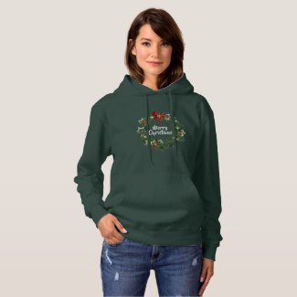 Merry Christmas Wreath Hoodie Sweatshirt