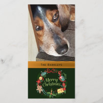 Merry Christmas Wreath Pet Photo Holiday Card