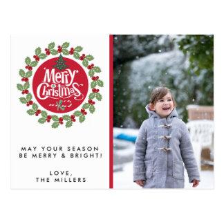 Merry Christmas Wreath Photo Holiday Postcards