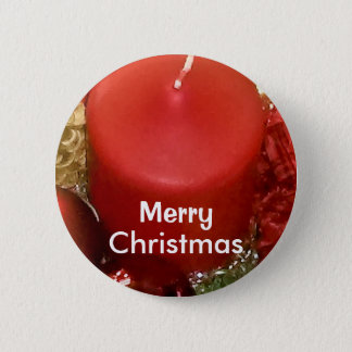 Merry Christmas Wreath Pinback Button