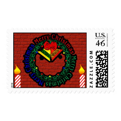 Merry Christmas Wreath Postage