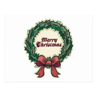 Merry Christmas Wreath Postcard