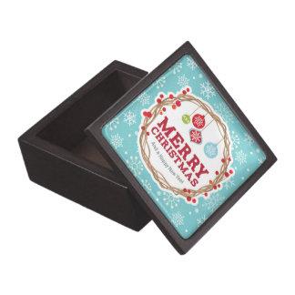 Merry Christmas, Wreath, Snowflakes Pattern Premium Keepsake Boxes