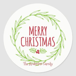 Merry Christmas Wreath Sticker Gift Tag