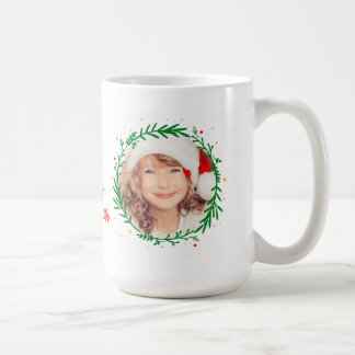 Merry Christmas Wreath Stylish Modern Photo Mug