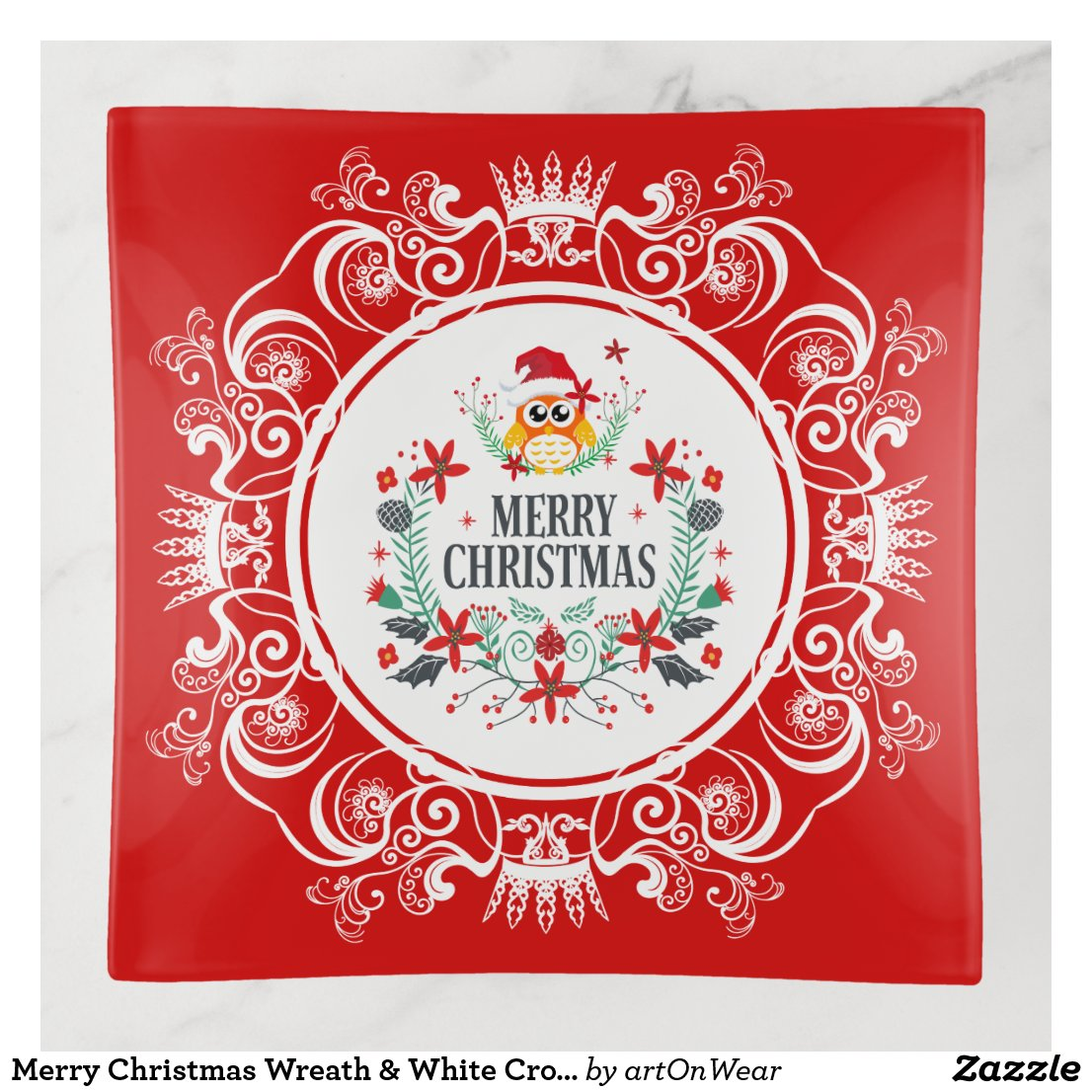Merry Christmas Wreath & White Crown Frame