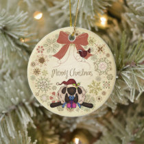 Merry Christmas Wreath with Cute Sheep and Bird Ceramic Ornament