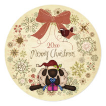Merry Christmas Wreath with Santa sheep and Bird Card