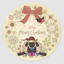 Merry Christmas Wreath with Santa Sheep and Bird Classic Round Sticker