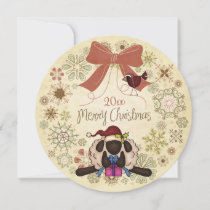 Merry Christmas Wreath with Santa Sheep and Bird Holiday Card