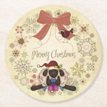 Merry Christmas Wreath with Santa Sheep and Bird Round Paper Coaster