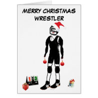 Merry Christmas Wrestler Greeting Cards