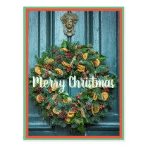 Merry Christmas x-mas wreath decoration Postcard