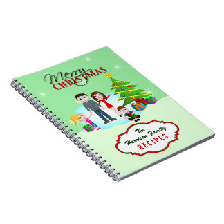 Merry Christmas Xmas Family Recipes Notebooks Spiral Note Books