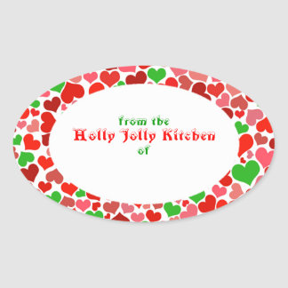 Merry Christmas Xmas Hearts Baking Bakery Cooking Oval Sticker