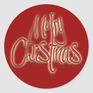 Merry Christmas Xmas red Classic Round Sticker