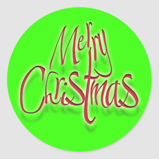 Merry Christmas Xmas red green Classic Round Sticker