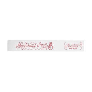 Merry Christmas Xmas Snowman Red Return Address Wrap Around Label