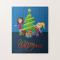 Merry Christmas Xmas Tree Jigsaw Puzzle