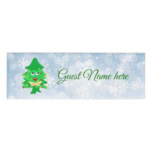 merry christmas xmas tree name tag